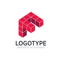 Letter F cube figure logo icon design template elements