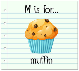 Flashcard letter M is for muffin