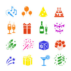 Icons set Holidays. Party, Birthday colored