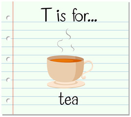 Flashcard letter T is for tea