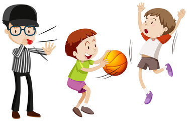 Referee and children playing basketball