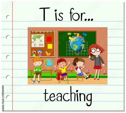 Flashcard Letter T Is For Teaching Fichier Vectoriel