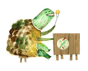 watercolor turtle, postcard