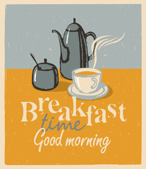 Retro banner with a picture breakfast tea cup and teapot