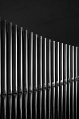 Shiny silver organ pipes