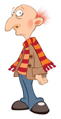 Illustration of a Cute Senior. Cartoon Character