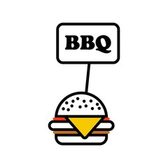 bbq label hamburger