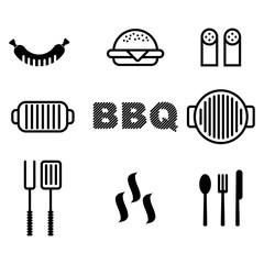 bbq set of icons