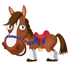 Brown horse, cartoon vector image isolated
