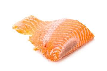 salmon fish fresh meat slice isolated on white background