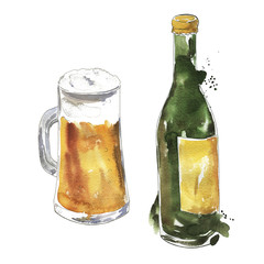 Set of beer bottle and mug of beer drawn by watercolor and ink. Hand drawn illustration.