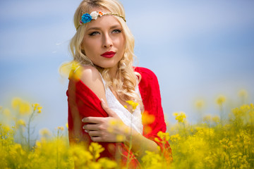 Lovely woman in yellow flowers