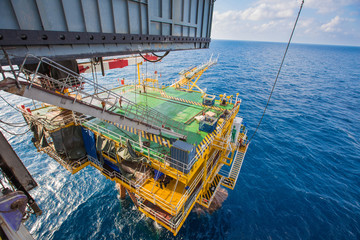 Drilling rig working on oil and gas wellhead platform