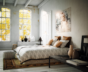 old vintage style bedroom loft apartment - altes retro design schlafzimmer in Loft Altbau Wohnung