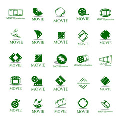 Movie Icons Set - Isolated On White Background. Vector Illustration, Graphic Design. For Web, Websites, App