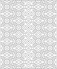 Black and white pattern with ornament for coloring. Developing children skills for drawing. Vector image.