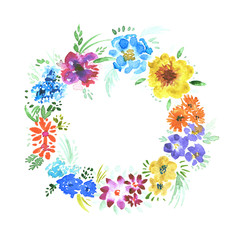 Bright watercolor summer wreath