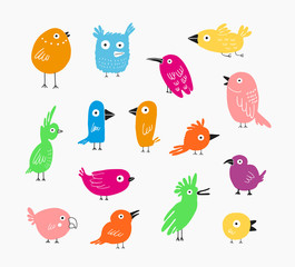 Color Birds set, vector illustration