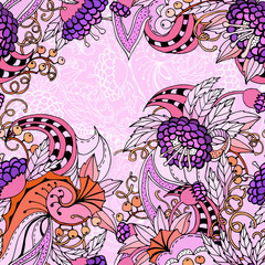Seamless decorative floral background with leaves, berries, spirals and flowers. Abstract motif with black outlines. Vector color illustration.