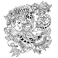 Floral decorative element with surreal female faces, leaves, berries, branches and flowers. Vector illustration for coloring pages or other.