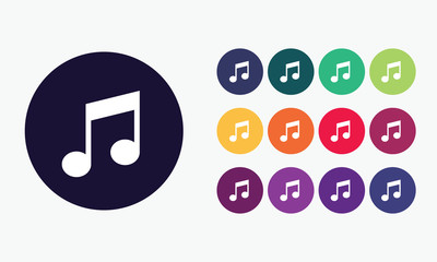 Set 3 of music notes icons. Vector graphic design.