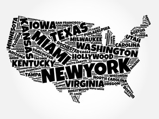 USA Map word cloud collage with most important cities