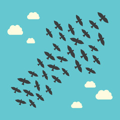 Conceptual birds flying upwards