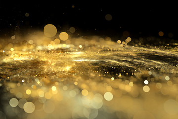 Abstract background gold bokeh circles. Beautiful background with confetti particles.