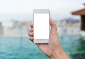 Women hand using smart phone