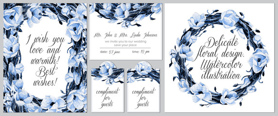 Set of templates for celebration, wedding. Invitation card, tags, round frame.  Watercolor blue flowers and intertwining branches.