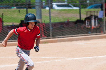 American baseball player running.