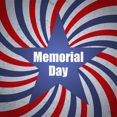 Memorial day banner with sunbrust, grunge and star. Vector illustration