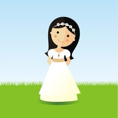 First Communion girl with dark hair in a garden
