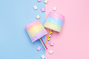 Multicolored Cotton candy. Pastel marshmallows. Minimal style. Pastel background