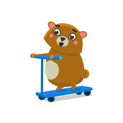 Brown Bear On Scooter