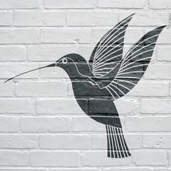 Art urbain, colibri