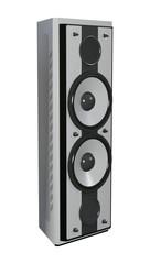 3D Rendering Tower Speaker on White