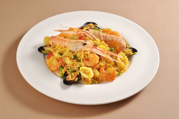Dish of fish paella