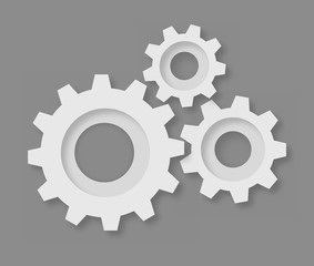 Gear icons put together that symbolize settings on grey backgrou