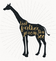 silhouette of giraffe with gold words in it