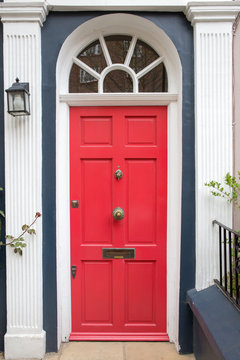 Red door in typical London house