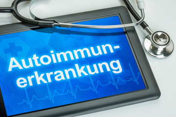 Tablet mit der Diagnose Autoimmunerkrankung auf dem Display