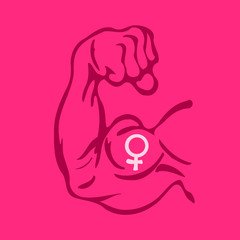 Vector cartoon illustration of Biceps with symbol of female gender on magenta background. Metaphor of feminism and strong feminist women