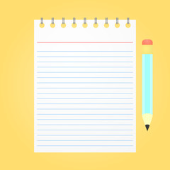 Opened notepad with pencil on yellow background