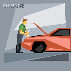 A mechanic in green and silver suit with tools, fixing a red car in car service, over silver background, digital vector image