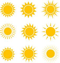 Sun icons collection. illustration