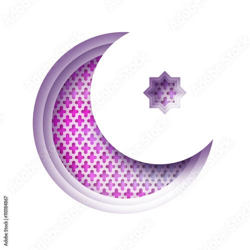"""Purple Origami Crescent Moon Mosque Window Ramadan Kareem"