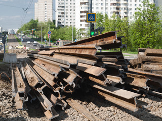 Repair works on replacement of tramways in Moscow, 2016. Cut the old rails, black metal