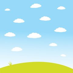 simple sky with white clouds and green field