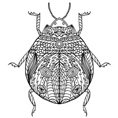 Black and white hand drawn zentangle stylized bug.